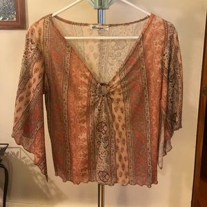 Younique paisley patterned keyhole top